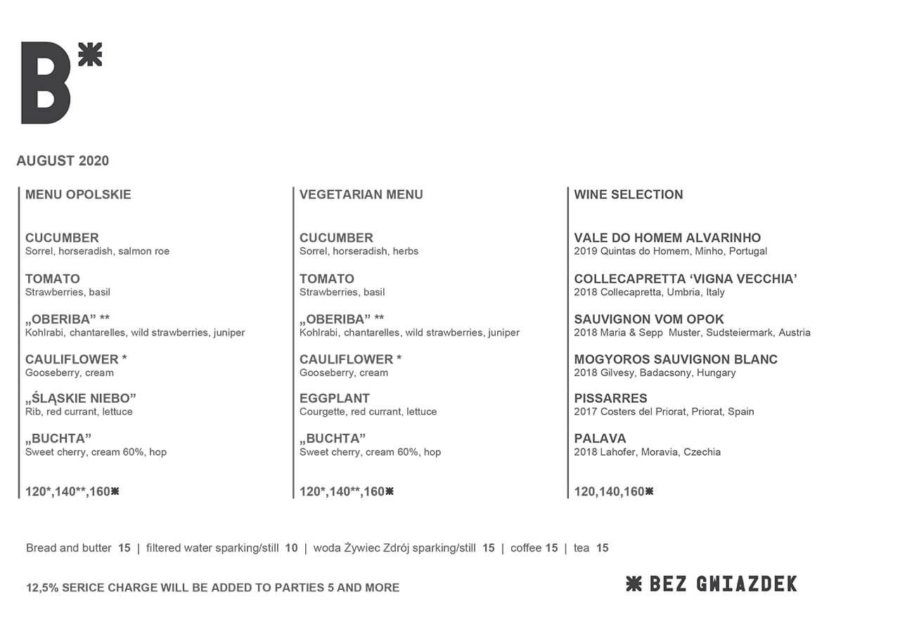 Bez Gwiazdek restaurant Menu August 2020 Opolskie